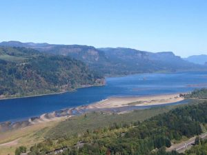 Columbia River Gorge, setting of Bonneville Lock & Dam reservoir operations