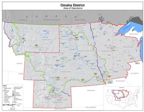 USACE Omaha District Map of Locations for Hydrologic Engineering Services